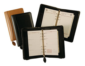 black and tan bonded leather 6-ring organizers