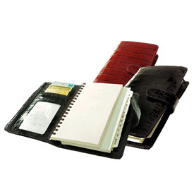 crocodile-grain leather spiralbound pocket planner