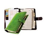 6 ring organizer system with green crocodile-grain leather cover