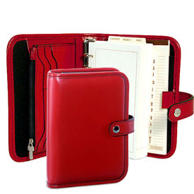 6-ring organizer with cherry-red Italian leather cover