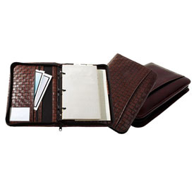 zippered 3-ring planner with woven-texture leather cover