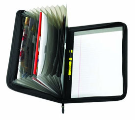 black vinyl zippered portfolio with accordion-style folders