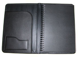 black vinyl pad cover with wirebound journal