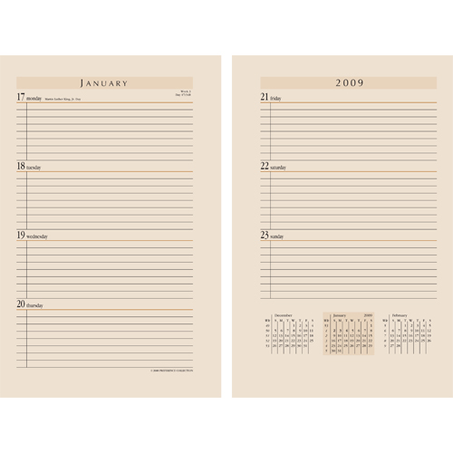 Weekly Calendar Refills : Leather day planners and calendar refills journal