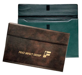 green and Burgundy gusseted envelope-style portfolios