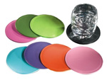 black, spring green, meadow green, ocean blue, azalea pink, pumpkin orange and violet leather coasters