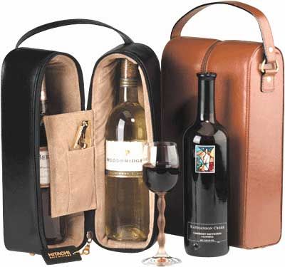 two leather wine carriers