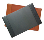 leather desk pad blotters, shown in black and British Tan
