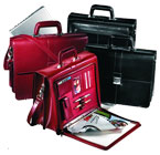 red and black leather binder briefcases