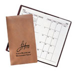 tan faux leather monthly planner
