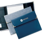 gray and blue tri-fold letter portfolios
