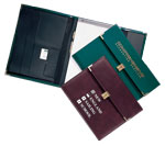 burgundy and green vinyl letter-size locking portfolios