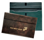 blue and brown vinyl gusseted envelope portfolios
