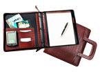 red croco-grain leather binder with handles