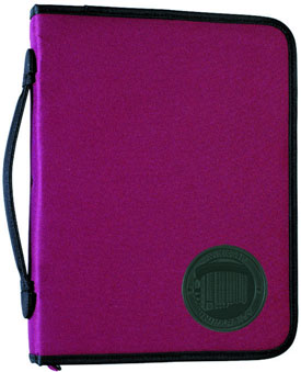 Burgundy zippered ring binder with nylon handle