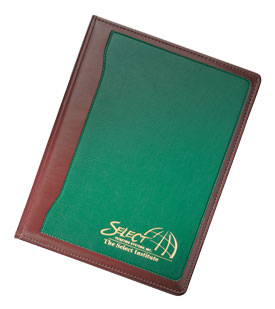 green and tan vinyl letter folder