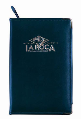 zippered vinyl padfolio with rounded metal corners